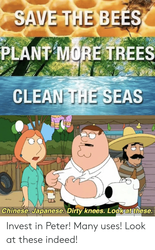 Dirty, Chinese, and Indeed: SAVE THE BEES  PLANT MORE TREES  CLEAN THE SEAS  Chinese. Japanese. Dirty knees. Look at these. Invest in Peter! Many uses! Look at these indeed!