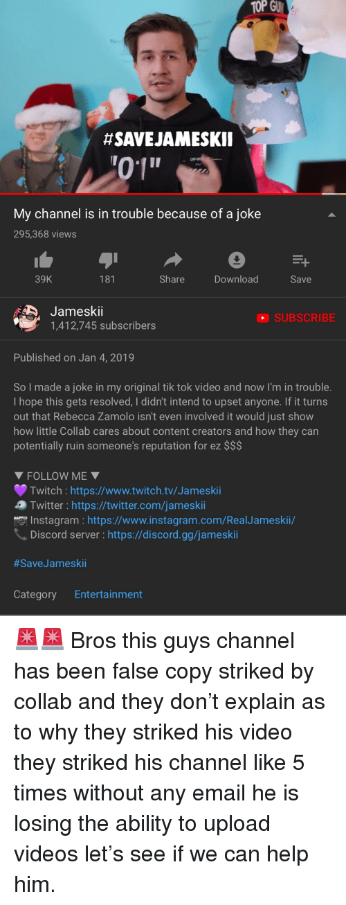 SAVEJAMESKII My Channel Is in Trouble Because of a Joke 295368 Views
