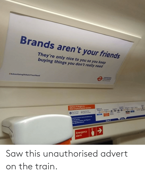 Saw: Saw this unauthorised advert on the train.