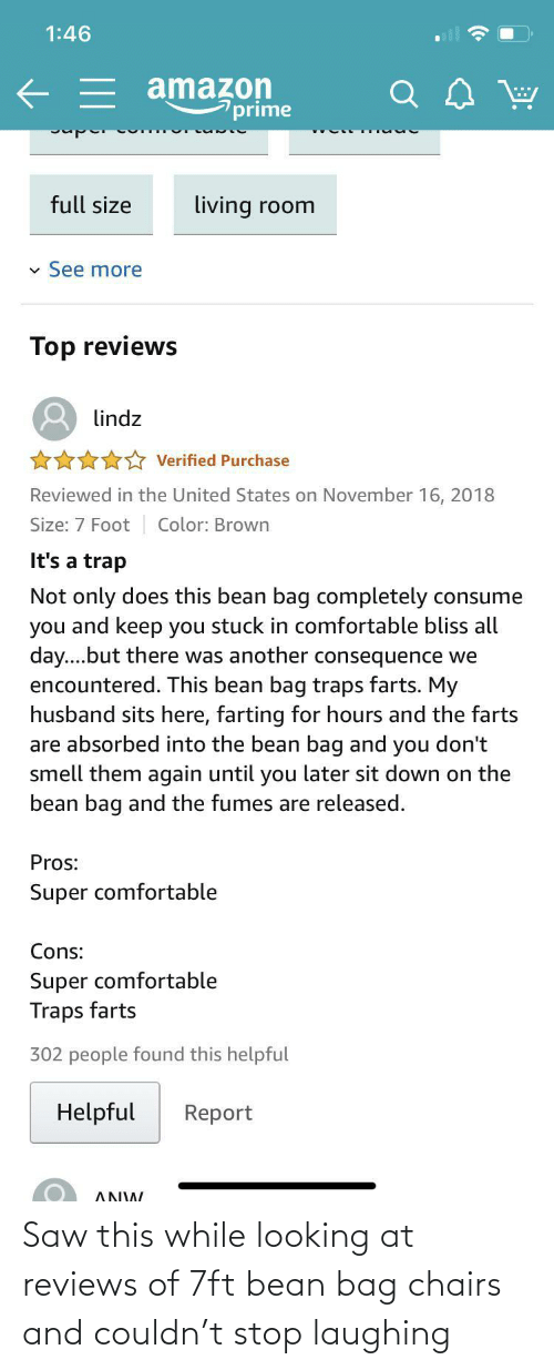 Saw: Saw this while looking at reviews of 7ft bean bag chairs and couldn't stop laughing