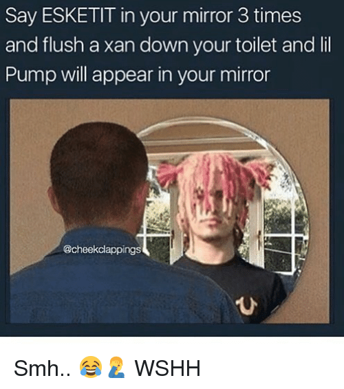 Memes, Smh, and Wshh: Say ESKETIT in your mirror 3 times  and flush a xan down your toilet and lil  Pump will appear in your mirror  @cheekclappings  ひ Smh.. 😂🤦‍♂️ WSHH