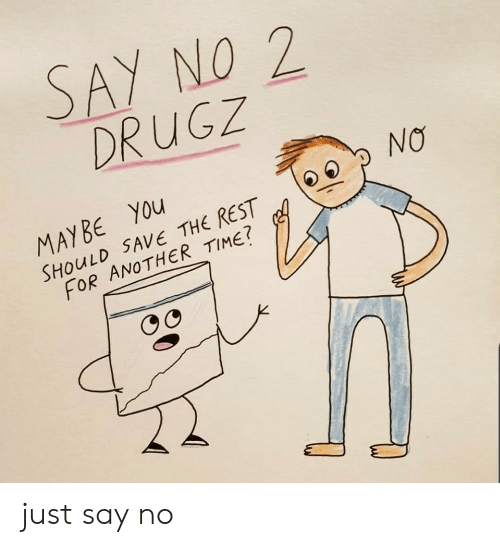 Just Say: SAY NO 2  DRUGZ  NO  MAYBE YOu  SHOULD SAVE THE REST  FOR ANOTHER TIME? just say no