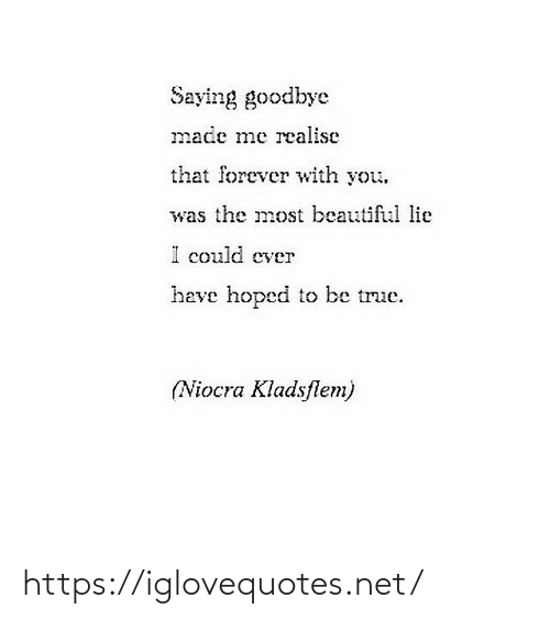 Made Me: Saying goodbye  made me realise  that forever with you.  was the most beautiful lie  could ever  heve hoped to be true.  (Niocra Kladsflem) https://iglovequotes.net/