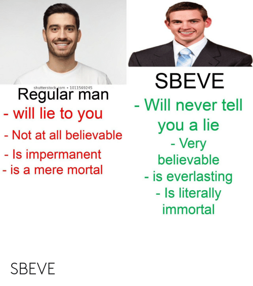 mere: SBEVE  shutterstock.com 1011569245  Regular man  - will lie to you  - Will never tell  you a lie  - Very  - Not at all believable  - Is impermanent  believable  - is a mere mortal  - is everlasting  - Is literally  immortal SBEVE