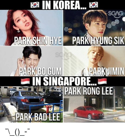 Bad, Memes, and Singapore: SCAG  PARK SHINIHYE PARK YUNG SIK  PARKBOGUMI  PARK 1MIN  IN SINGAPORE  PARK RONG LEE  PARK BAD LEE ¯\_(ツ)_-¯