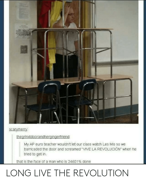 "Teacher, Euro, and Live: scarymerry  My AP euro teacher wouldn't let our class watch Les Mis so we  barricaded the door and screamed VIVE LA REVOLUCION"" when he  tried to get in  that is the face of a man who is 24601% done LONG LIVE THE REVOLUTION"