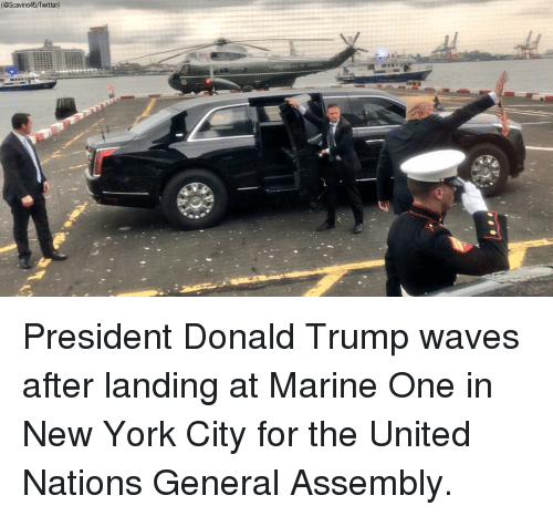 Donald Trump, Memes, and New York: (@Scavino45/Twitter) President Donald Trump waves after landing at Marine One in New York City for the United Nations General Assembly.