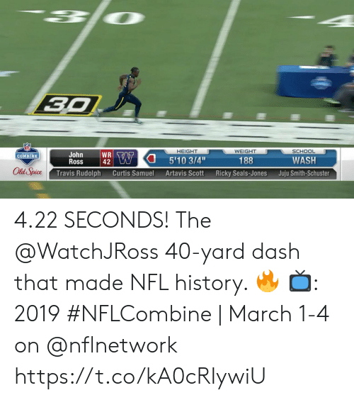 Memes, Nfl, and School: SCHOOL  HEIGHT  WEIGHT  John  Ross  188  WASH  COMBINE  42  l Spice Travis Rudolph Curtis Samuel Artavis Scott Ricky Seals-Jones Juju Smith-Schust 4.22 SECONDS!  The @WatchJRoss 40-yard dash that made NFL history. 🔥   📺: 2019 #NFLCombine | March 1-4 on @nflnetwork https://t.co/kA0cRIywiU
