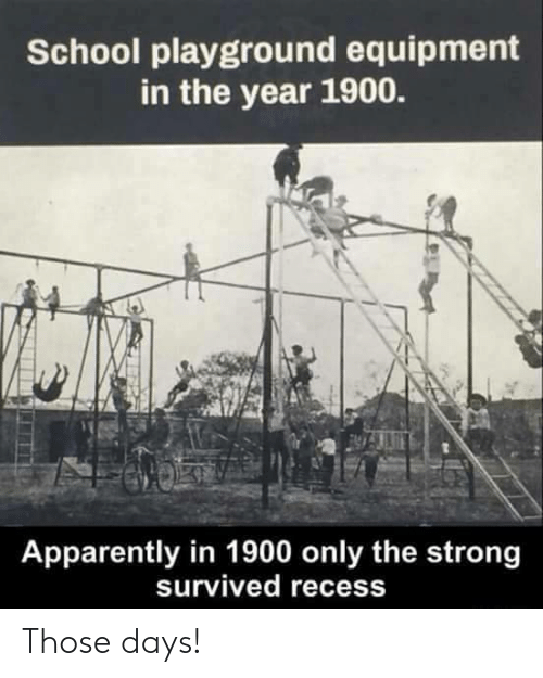 Apparently, Recess, and School: School playground equipment  in the year 1900.  Apparently in 1900 only the strong  survived recess Those days!