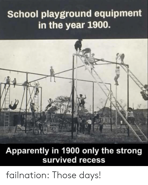Apparently, Recess, and School: School playground equipment  in the year 1900.  Apparently in 1900 only the strong  survived recess failnation:  Those days!