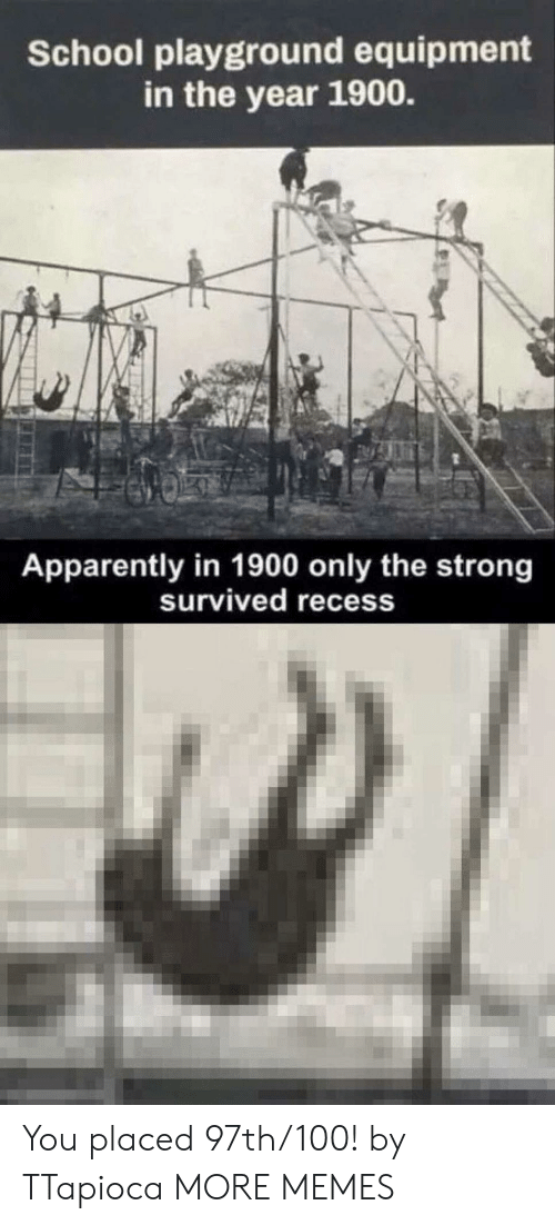 Strongness: School playground equipment  in the year 1900.  Apparently in 1900 only the strong  survived recess You placed 97th/100! by TTapioca MORE MEMES