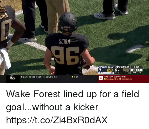 Abc, Espn, and Sports: SCIBA  8 NOTRE DAME WAKE FOREST 7:01  4th & 6  2-1l 1st 29  abc  BIG 12 Texas Tech vs 15 Okla St  7ET  TAKE ESPN EVERYWHERE  Download the #1 Sports App Wake Forest lined up for a field goal...without a kicker https://t.co/Zi4BxR0dAX