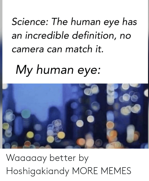 My Human: Science: The human eye has  an incredible definition, no  camera can match it.  My human eye: Waaaaay better by Hoshigakiandy MORE MEMES