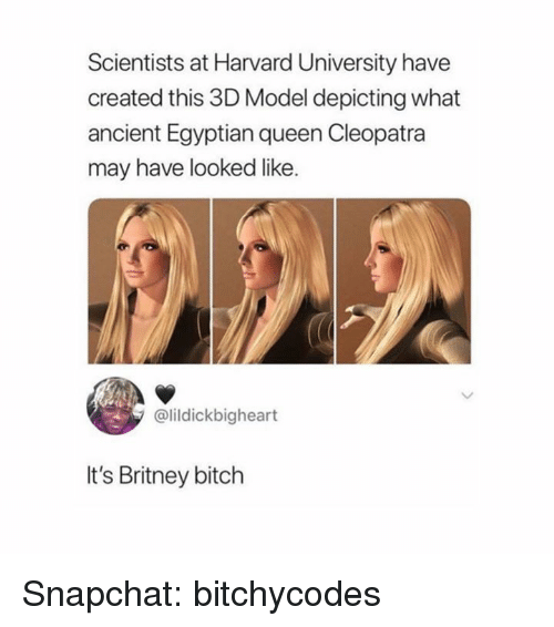 Bitch, Snapchat, and Harvard University: Scientists at Harvard University have  created this 3D Model depicting what  ancient Egyptian queen Cleopatra  may have looked like.  @lildickbigheart  It's Britney bitch Snapchat: bitchycodes