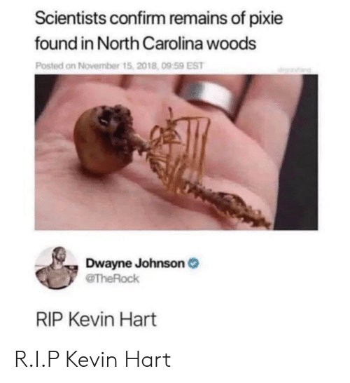 Kevin Hart: Scientists confirm remains of pixie  found in North Carolina woods  Posted on November t  Dwayne Johnson  RIP Kevin Hart R.I.P Kevin Hart