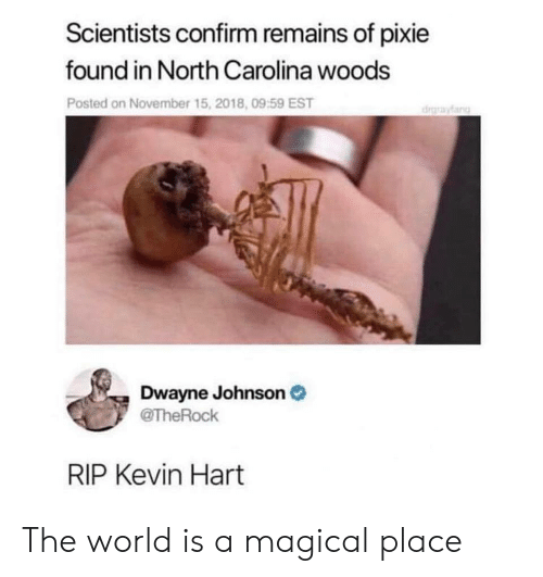 Dwayne Johnson, Kevin Hart, and North Carolina: Scientists confirm remains of pixie  found in North Carolina woods  Posted on November 15, 2018, 09:59 EST  drayfang  Dwayne Johnson  @TheRock  RIP Kevin Hart The world is a magical place