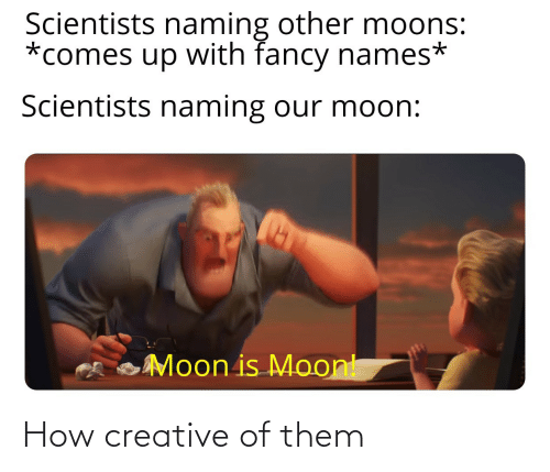 Fancy: Scientists naming other moons:  *comes up with fancy names*  Scientists naming our moon:  Moon is Moont How creative of them