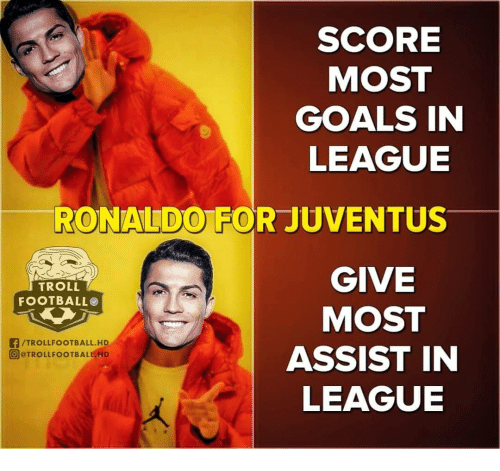Football, Goals, and Memes: SCORE  MOST  GOALS IN  LEAGUE  RONALDO FOR JUVENTUS  GIVE  MOST  ASSIST IN  LEAGUE  TROLL  FOOTBALL  f/TROLLFOOTBALL.HD  回@TROLLFOOTBALICHD