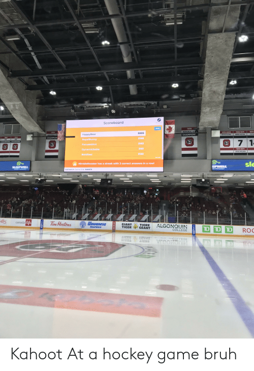 Bruh, College, and Doug: Scoreboard  Go Full Screen  Next  1999  MEMORIAL CU  971-  1968-1973  1974-2009  1984  3205  HappyBear  PETER  CHAMPIONS  DENIS POTVIN  BRIAN KILREA  MEMORIAL CU  2001  1984  CHAMPION  3168  RoyalBunny  OHL  OHL  7 1  67  CHAMPIONS CHAMPIONS  67  67  3163  FocusedAnt  67  67  3151  1974-1977  DynamicSable  DOUG WILSON  3133  BoldSeal  End quiz  sle  NimbleRooster has a streak with 3 correct answers in a row!  EPWELL  SLEEPWELL  kahoot.it ame PIN: 500875  06  07  07  67  57  57  60  canada life  Tim Hortons  Wawanesa  Insurance  GIANT  TIGER  TIGRE  GEANT  ALGONQUIN  D D D  ROO  COLLEGE  LICER  CEVM  THAIS  aiCKE  CORTECE  reond  wwLIM  CCM  WINMAR  ST Kahoot At a hockey game bruh