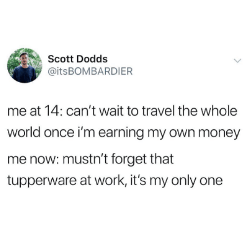 Money, Work, and Travel: Scott Dodds  @itsBOMBARDIER  me at 14: can't wait to travel the whole  world once i'm earning my own money  me now: mustn't forget that  tupperware at work, it's my only one