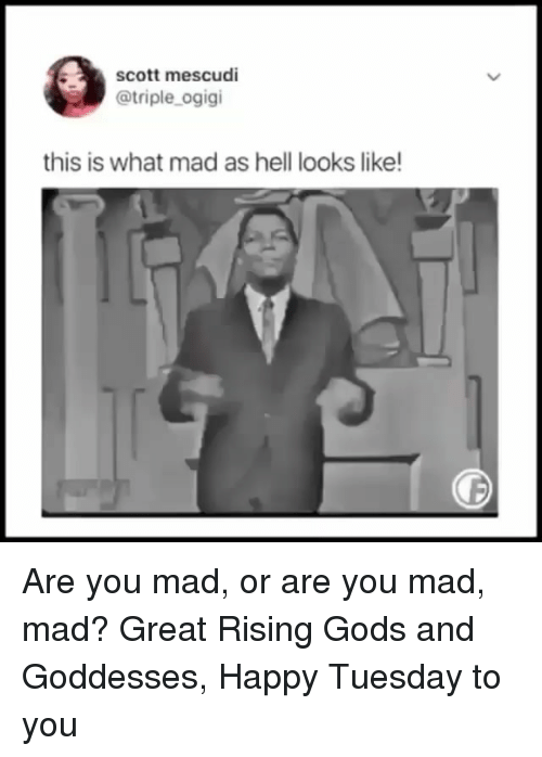 Memes, Happy, and Mad: scott mescudi  @triple_ogigi  this is what mad as hell looks like Are you mad, or are you mad, mad? Great Rising Gods and Goddesses, Happy Tuesday to you
