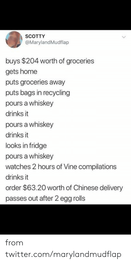 Vine: SCOTTY  @MarylandMudflap  buys $204 worth of groceries  gets home  puts groceries away  puts bags in recycling  pours a whiskey  drinks it  pours a whiskey  drinks it  looks in fridge  pours a whiskey  watches 2 hours of Vine compilations  drinks it  order $63.20 worth of Chinese delivery  passes out after 2 egg rolls from twitter.com/marylandmudflap