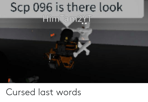 Last Words, Scp, and Words: Scp 096 is there look  HimTam2yT  X Cursed last words