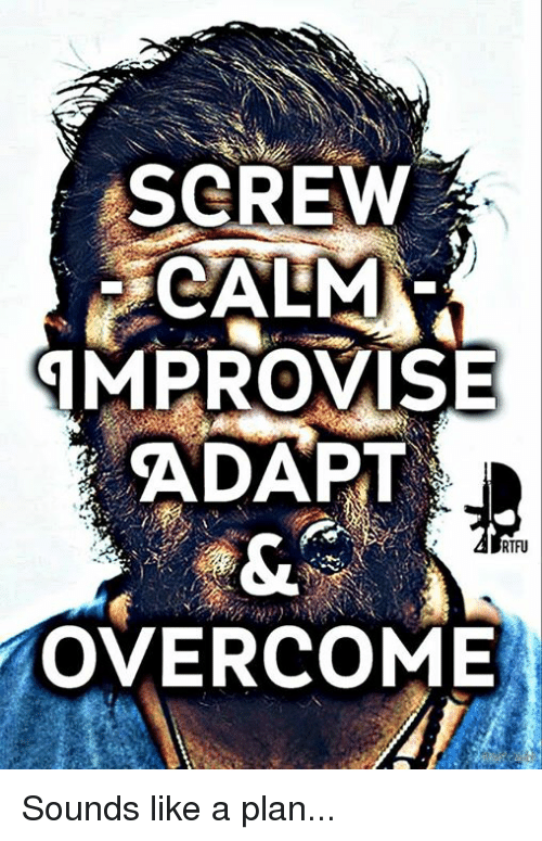 Memes, 🤖, and Sound: SCREW  CALMA  IMPROVISE  ADAPT  RTFU  OVERCOME Sounds like a plan...
