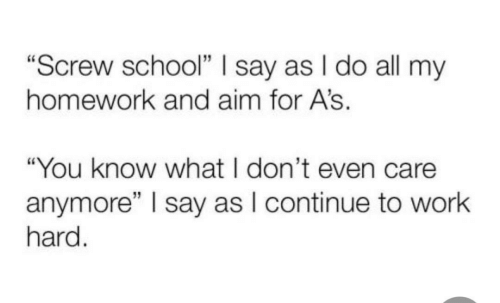 "School, Work, and Homework: ""Screw school"" I say as I do all my  homework and aim for A's.  ""You know what I don't even care  anymore"" I say as I continue to work  hard."