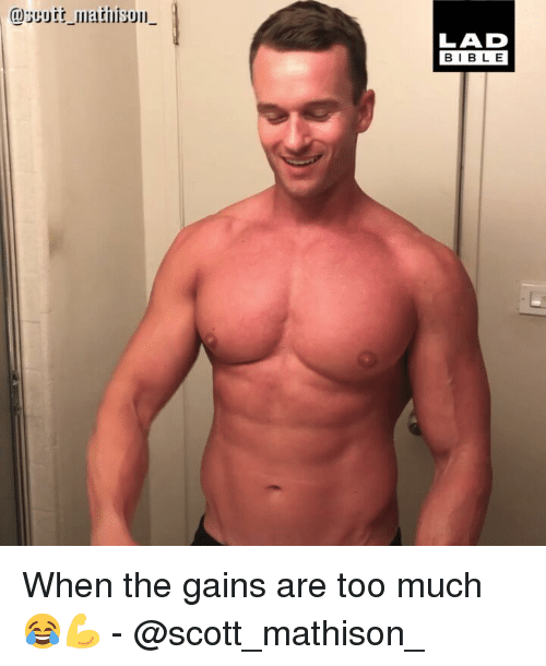 Memes, Too Much, and 🤖: @scutt mtison  LAD  BIBL E When the gains are too much 😂💪 - @scott_mathison_