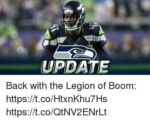 Memes, Back, and Boom: SEAH  UPDATE Back with the Legion of Boom: https://t.co/HtxnKhu7Hs https://t.co/QtNV2ENrLt
