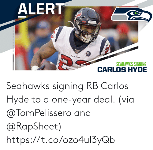 Seahawks: Seahawks signing RB Carlos Hyde to a one-year deal. (via @TomPelissero and @RapSheet) https://t.co/ozo4ul3yQb