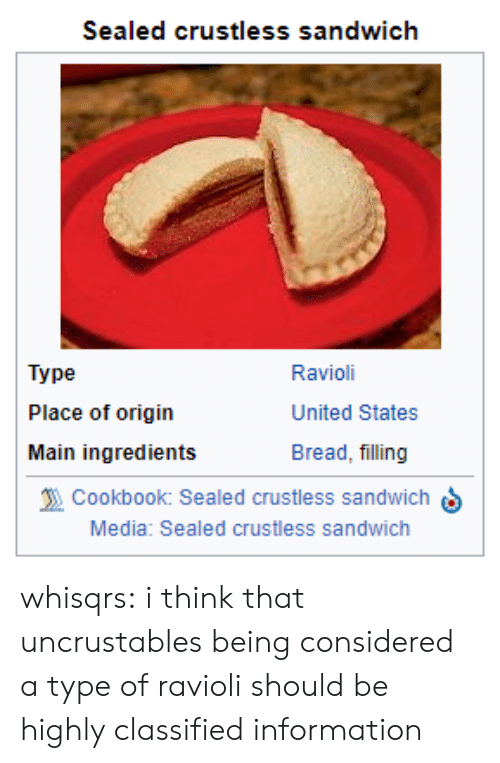 Target, Tumblr, and Blog: Sealed crustless sandwich  Type  Place of origin  Main ingredients  Ravioli  United States  Bread, filling  Cookbook: Sealed crustless sandwichS  Media: Sealed crustless sandwich whisqrs: i think that uncrustables being considered a type of ravioli should be highly classified information