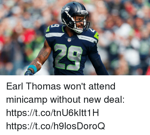 Memes, 🤖, and Thomas: SEANAWKS Earl Thomas won't attend minicamp without new deal: https://t.co/tnU6kItt1H https://t.co/h9losDoroQ