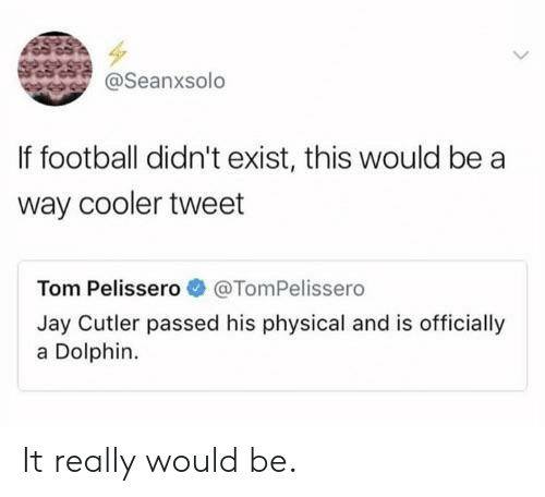 Football, Jay, and Jay Cutler: @Seanxsolo  If football didn't exist, this would be a  way cooler tweet  Tom Pelissero@TomPelissero  Jay Cutler passed his physical and is officially  a Dolphin. It really would be.