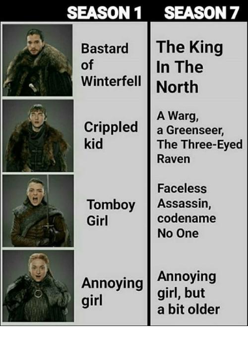 Faceless: SEASON1 SEASON 7  Bastard The King  In The  of  Winterfell North  A Warg,  Crippled a Greenseer,  kid  The Three-Eyed  Raven  Faceless  codename  Tomboy Assassin,  Girl  No One  Annoying  Annoying |girl, but  girl  a bit older