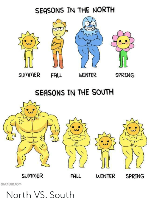 Fall, Winter, and Summer: SEASONS IN THE NORTH  SUMMER FALL  WINTER  SPRING  SEASONS IN THE SOUTH  SUMMER  FALL  WINTER  SPRING  OWLTURD.COM  3  :3 North VS. South