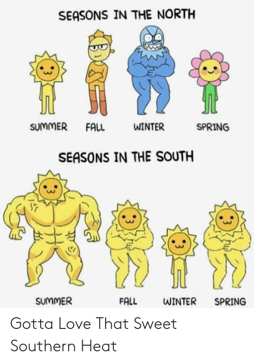 Fall, Love, and Winter: SEASONS IN THE NORTH  SUMMER  SPRING  FALL  WINTER  SEASONS IN THE SOUTH  SUMMER  FALL  WINTER  SPRING  : 3 Gotta Love That Sweet Southern Heat