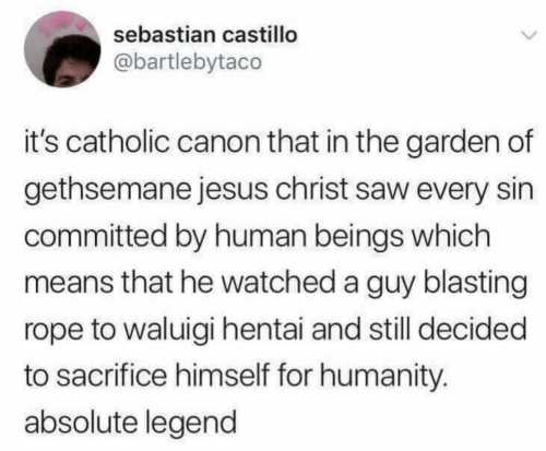 Catholic: sebastian castillo  @bartlebytaco  it's catholic canon that in the garden of  gethsemane jesus christ saw every sin  committed by human beings which  means that he watched a guy blasting  rope to waluigi hentai and still decided  to sacrifice himself for humanity.  absolute legend