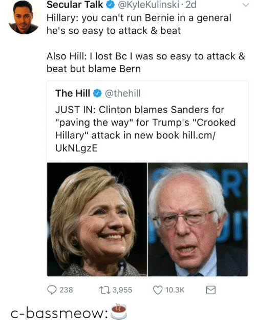 """Run, Tumblr, and Lost: Secular  Talk  @KyleKulinski  2d  Hillary: you can't run Bernie in a general  he's so easy to attack & beat  Also Hill: I lost Bc I was so easy to attack &  beat but blame Bern  The Hill @thehill  JUST IN: Clinton blames Sanders for  """"paving the way"""" for Trump's """"Crooked  Hillary"""" attack in new book hill.cm/  UkNLgzE  238 3,955 10.3 c-bassmeow:☕️"""