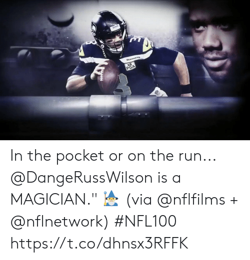 "Memes, Run, and 🤖: SEE  PGA In the pocket or on the run...  @DangeRussWilson is a MAGICIAN."" 🧙‍ (via @nflfilms + @nflnetwork) #NFL100 https://t.co/dhnsx3RFFK"