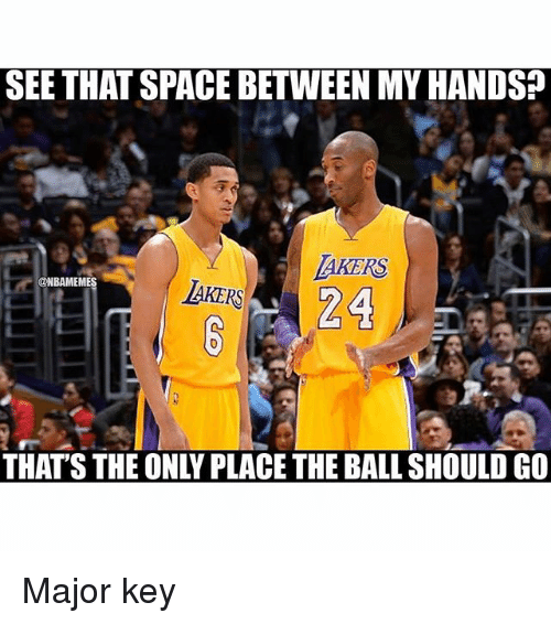 major key: SEE THAT SPACE BETWEEN MY HANDS  TAKERS  @HBAMEMES  LAKERS  THAT'S THE ONLY PLACE THE BALL SHOULD GO  IEOMNILADETIEDAL STOUNDCO Major key