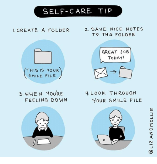 Smile, Today, and Nice: SELF-CARE TIP  2. SA VE NICE NOTES  TO THIS FOLDER  I CREATE A FOLDER  GREAT JoB  TODAY!  THIS IS YOUR  SMILE FILE  3. WHEN YOURE  4. LoOK THROUGH  FEELING DOWN  YOUR SMILE FILE
