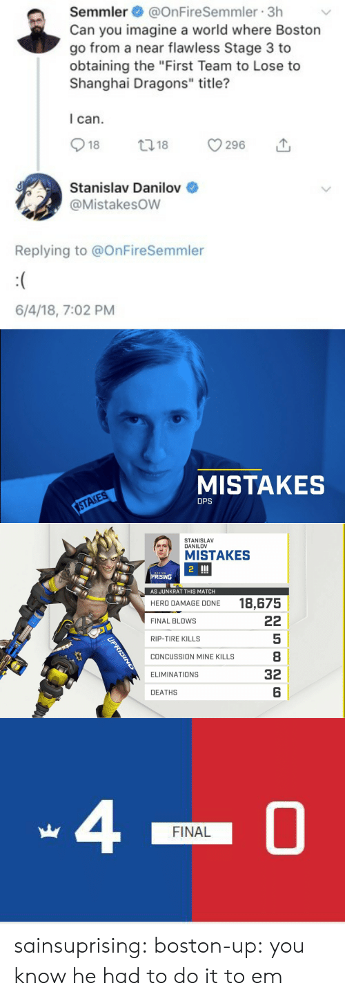 "Calvin Johnson, Concussion, and Gif: Semmler@OnFireSemmler 3h  Can you imagine a world where Boston  go from a near flawless Stage 3 to  obtaining the ""First Team to Lose to  Shanghai Dragons"" title?  I can.  018 18 296 1,  Stanislav Danilov  @Mistakesow  Replying to @OnFireSemmler  6/4/18, 7:02 PM   MISTAKES  STAKES  DPS   STANISLAV  DANILOV  MISTAKES  2  BOSTON  PRISING  51  AS JUNKRAT THIS MATCH  18,675  HERO DAMAGE DONE  FINAL BLOws  RIP-TIRE KILLS  CONCUSSION MINE KILLS  ELIMINATIONS  DEATHS  5  8  32  6   40  FINAL sainsuprising: boston-up:  you know he had to do it to em"