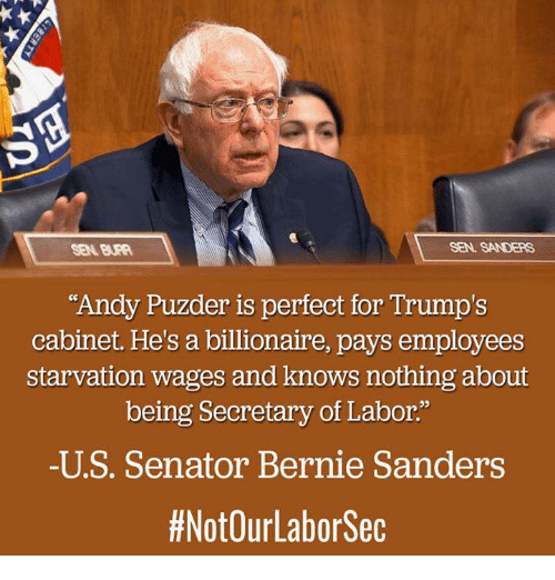 "Memes, 🤖, and Sec: SEN. SANDERS  ""Andy Puzder is perfect for Trump's  cabinet. He's a billionaire, pays employees  starvation wages and knows nothing about  being Secretary of Labor.""  -U S. Senator Bernie Sanders  #NotOurLabor Sec"