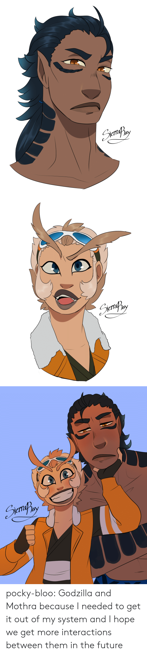 Future, Godzilla, and Tumblr: Senily   кпвy   SemafPny pocky-bloo:    Godzilla and Mothra because I needed to get it out of my system and I hope we get more interactions between them in the future
