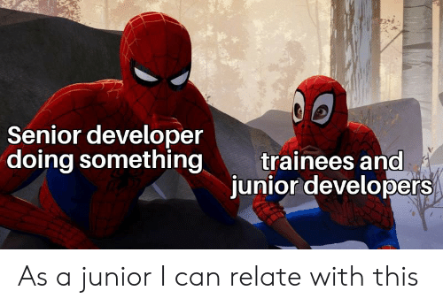 junior: Senior developer  doing something  trainees and  junior developers As a junior I can relate with this