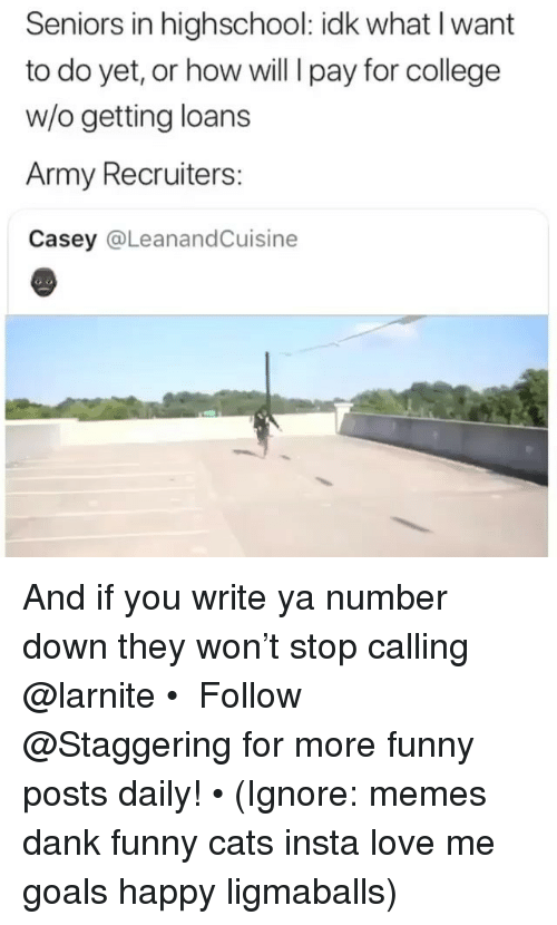 Cats, College, and Dank: Seniors in highschool: idk what I want  to do yet, or how will I pay for college  w/o getting loans  Army Recruiters:  Casey @LeanandCuisine And if you write ya number down they won't stop calling @larnite • ➫➫➫ Follow @Staggering for more funny posts daily! • (Ignore: memes dank funny cats insta love me goals happy ligmaballs)