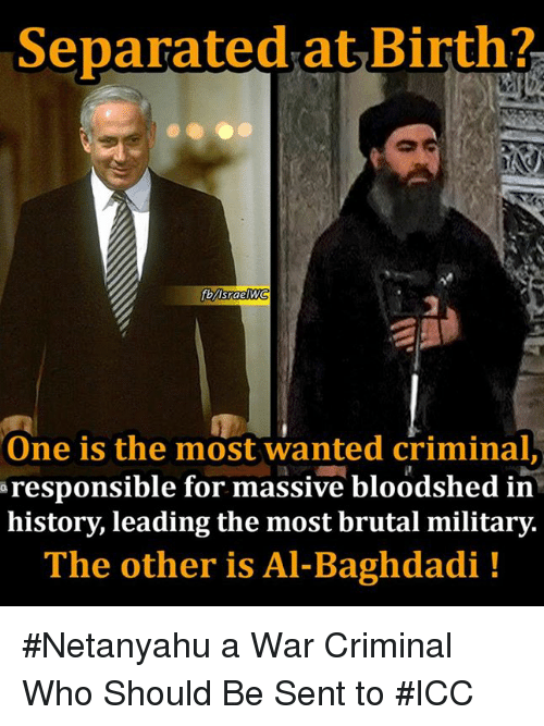 Memes, Netanyahu, and 🤖: Separated at Birth?  fbVlsraelWG  One is the most wanted criminal  a responsible for massive bloodshed in  history, leading the most brutal military.  The other is Al-Baghdadi #Netanyahu a War Criminal Who Should Be Sent to #ICC