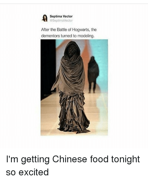 Chinese Food, Chinese, and Excite: Septima Vector  @SeptimaVector  After the Battle of Hogwarts, the  dementors turned to modeling. I'm getting Chinese food tonight so excited